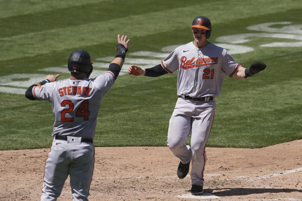 Baltimore Orioles' DJ Stewart (24) and Austin Hays (21) celebrate after both scored on a two-run single by Trey Mancini during the fifth inning of a b...