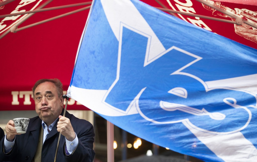 Alba Party leader Alex Salmond during his election campaign trail visit to the Scotsman Lounge in Edinburgh, Scotland, Monday May 3, 2021.  Virus lock...
