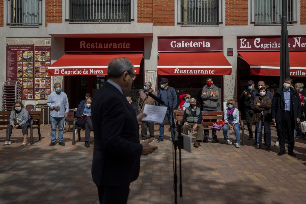 Socialist candidate for the Madrid elections Angel Gabilondo gives a speech during an election campaign in Alcobendas, outskirts of Madrid, Spain, Mon...