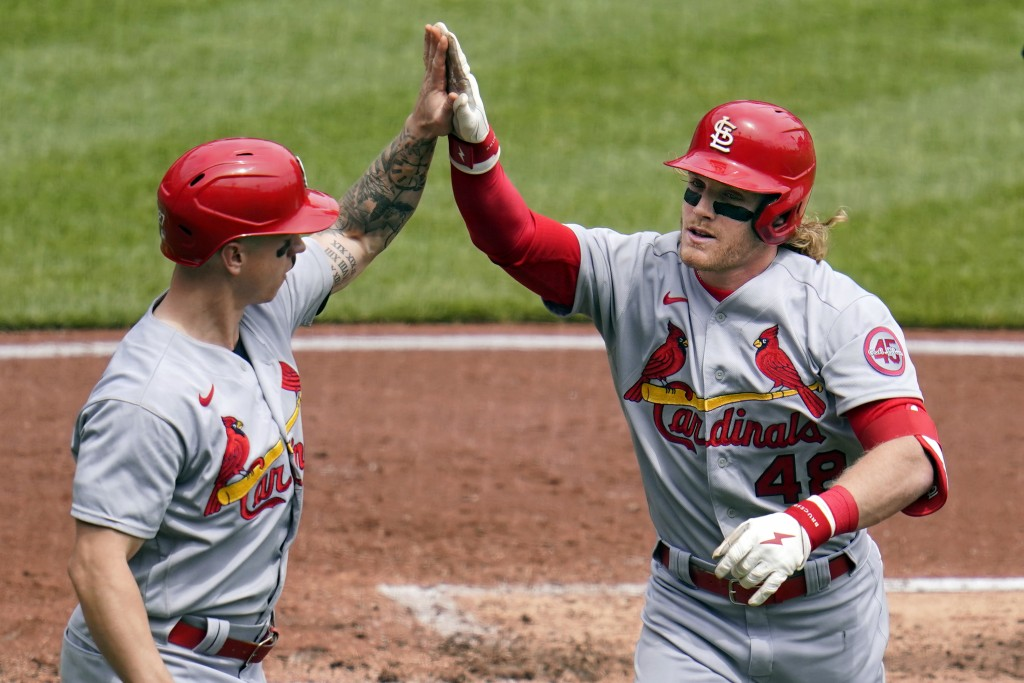 St. Louis Cardinals' Harrison Bader (48) celebrates with Tyler O'Neill as he returns to the dugout after hitting a three-run home run off Pittsburgh P...