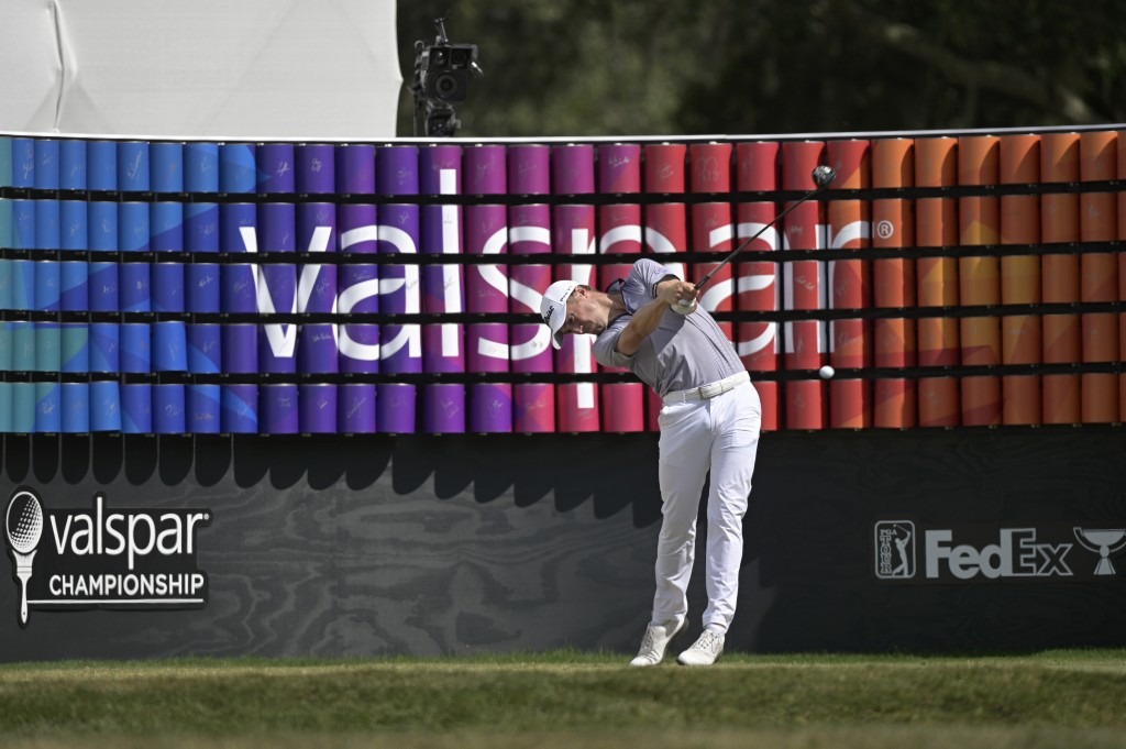 Justin Thomas tees off on the 18th hole during the final round of the Valspar Championship golf tournament, Sunday, May 2, 2021, in Palm Harbor, Fla. ...