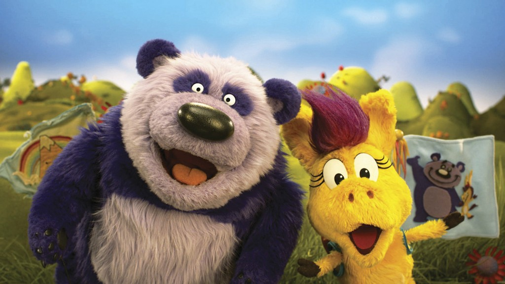 """This image released by PBS Kids shows puppet characters Purple Panda, left, and Donkey Hodie from the new series, """"Donkey Hodie,"""" inspired from charac..."""