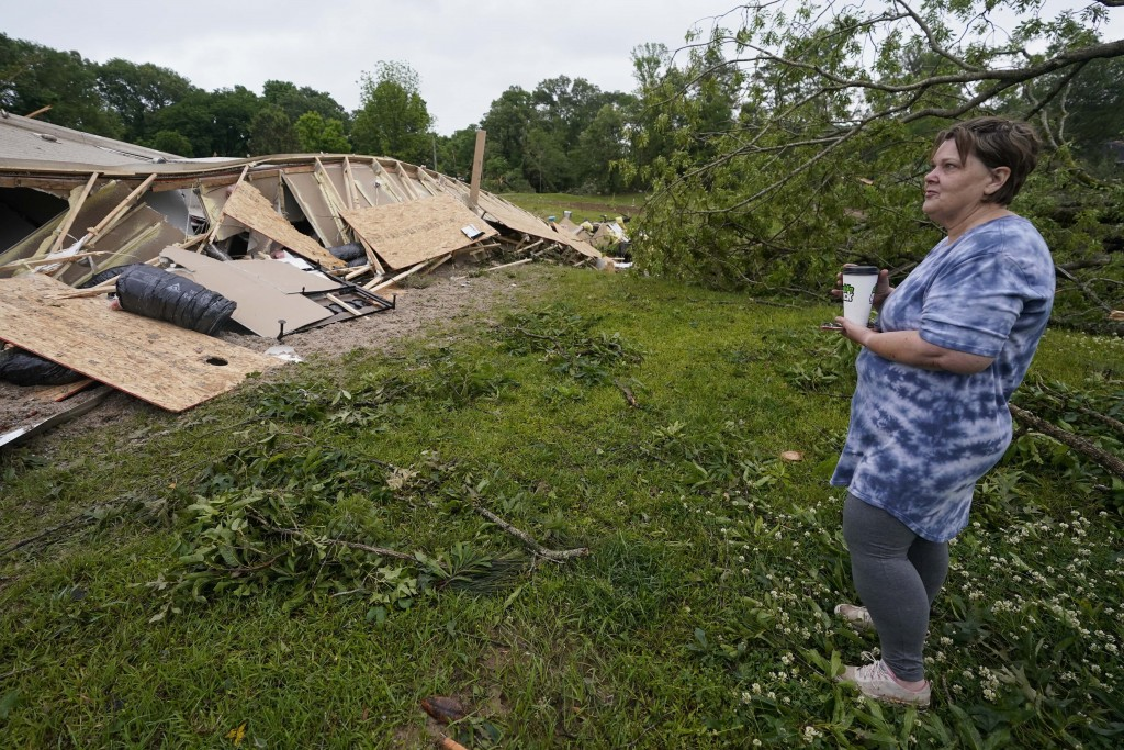 Vickie Savell looks at the remains of her new mobile home early Monday, May 3, 2021, in Yazoo County, Miss. Multiple tornadoes were reported across Mi...