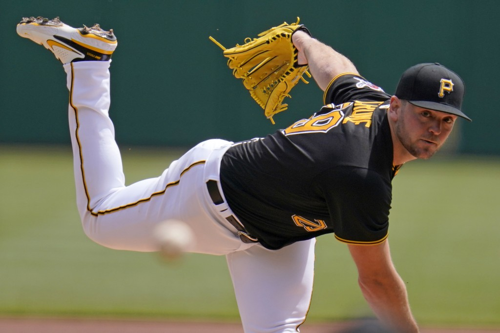 Pittsburgh Pirates starting pitcher Wil Crowe delivers during the first inning of the team's baseball game against the St. Louis Cardinals in Pittsbur...