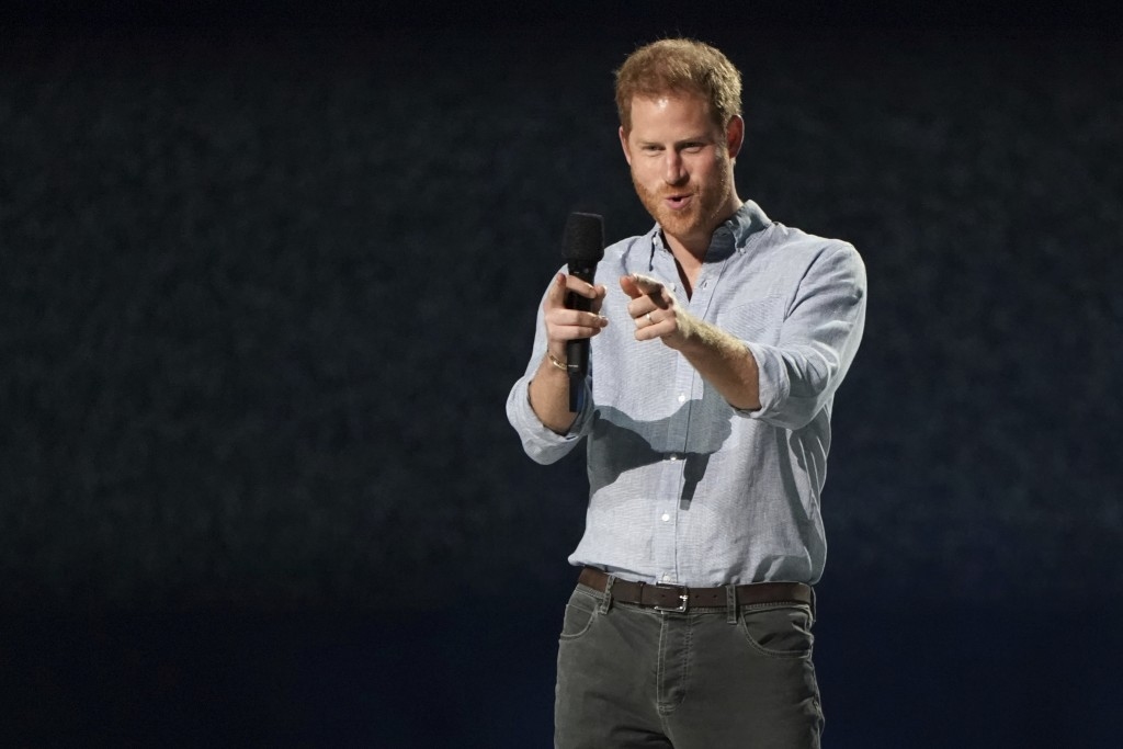 """Prince Harry, Duke of Sussex, speaks at """"Vax Live: The Concert to Reunite the World"""" on Sunday, May 2, 2021, at SoFi Stadium in Inglewood, Calif. (Pho..."""