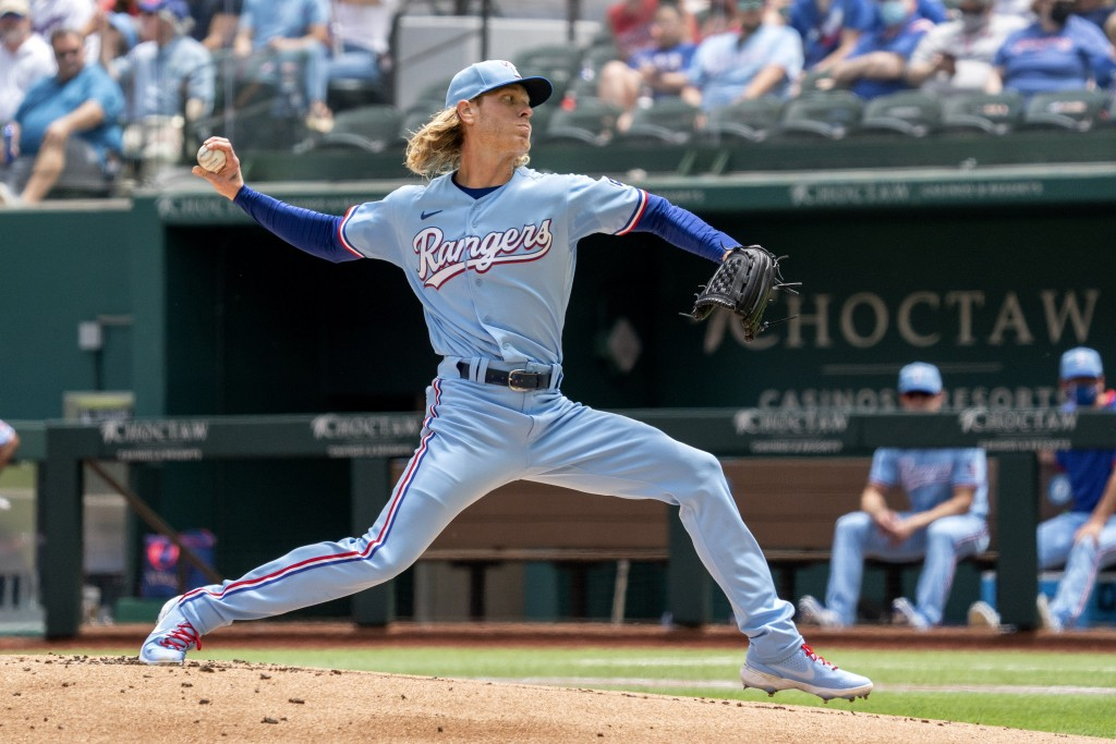 Texas Rangers starting pitcher Mike Foltynewicz works against the Boston Red Sox during the first inning of a baseball game Sunday, May 2, 2021, in Ar...