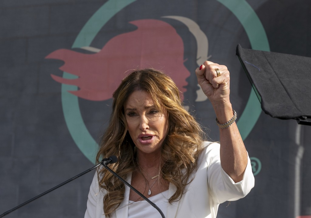 FILE - In this Jan. 18, 2020, file photo, Caitlyn Jenner speaks at the fourth Women's March in Los Angeles. Jenner, the former Olympic champion and re...