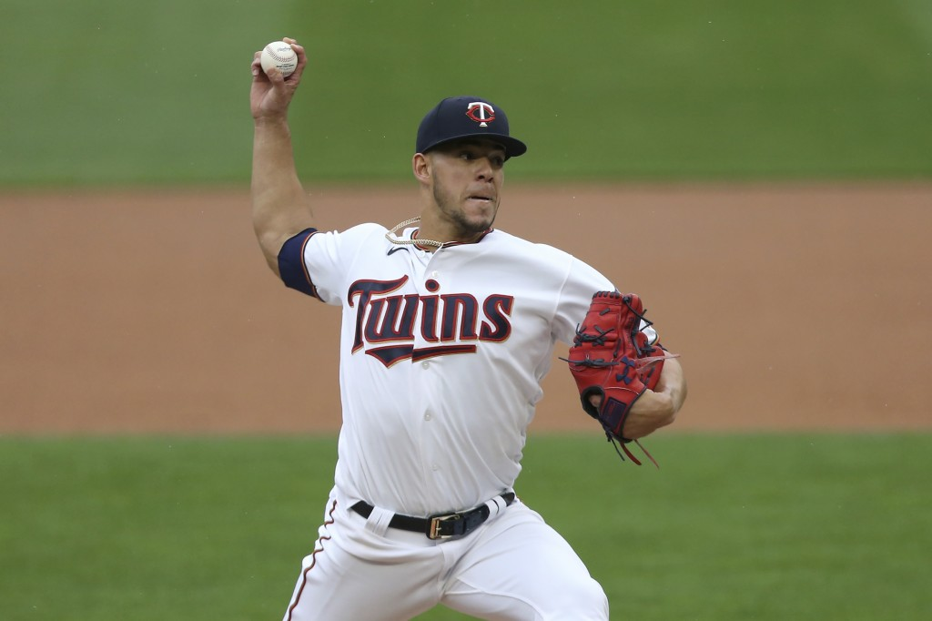 Minnesota Twins against the Kansas City Royals in the first inning of a baseball game Sunday, May 2, 2021, in Minneapolis. (AP Photo/Stacy Bengs)