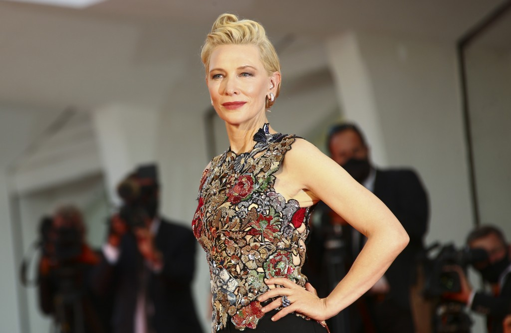 """FILE - Jury president Cate Blanchett arrives at the premiere of the """"Amants (Lovers)"""" during the 77th edition of the Venice Film Festival in Venice, I..."""