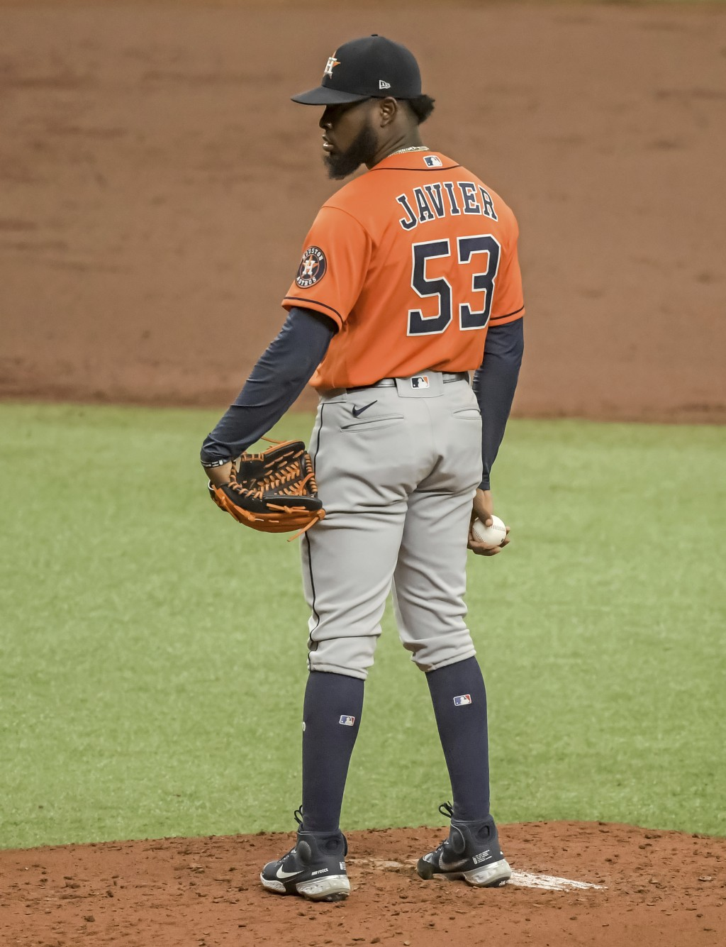 Houston Astros starter Cristian Javier pauses between pitches against the Tampa Bay Rays during the second inning of a baseball game Sunday, May 2, 20...