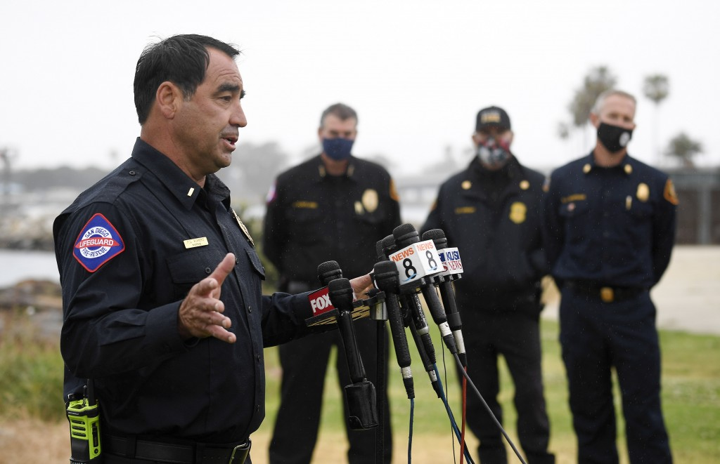 San Diego Lifeguard Lt. Rick Romero speaks at a news conference held after a boat capsized just off the San Diego coast Sunday, May 2, 2021, in San Di...