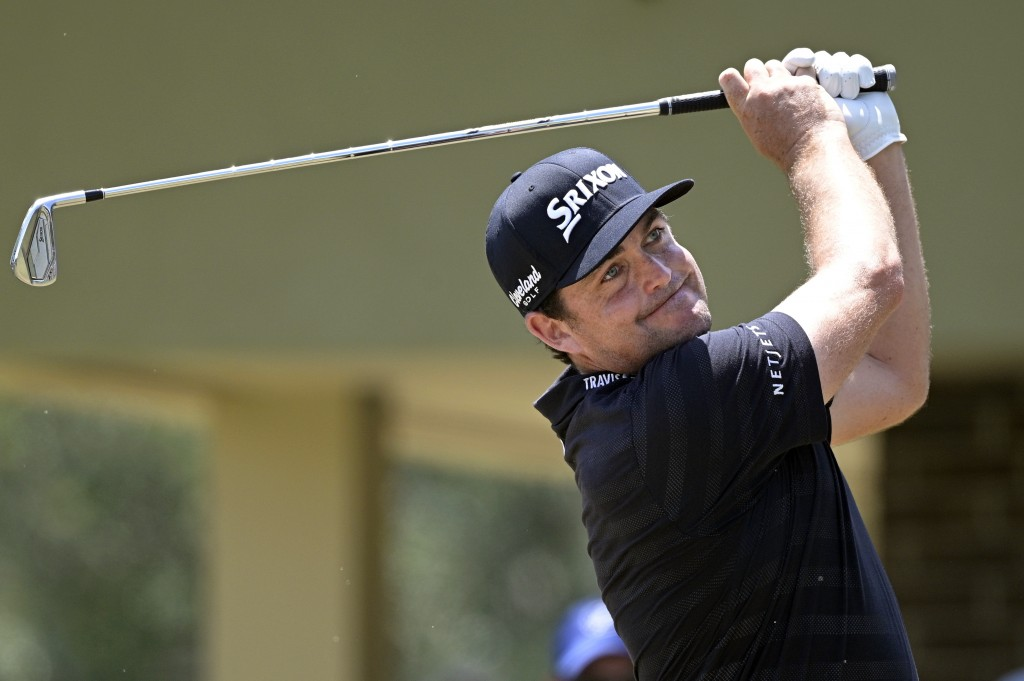 Keegan Bradley tees off on the second hole during the final round of the Valspar Championship golf tournament, Sunday, May 2, 2021, in Palm Harbor, Fl...