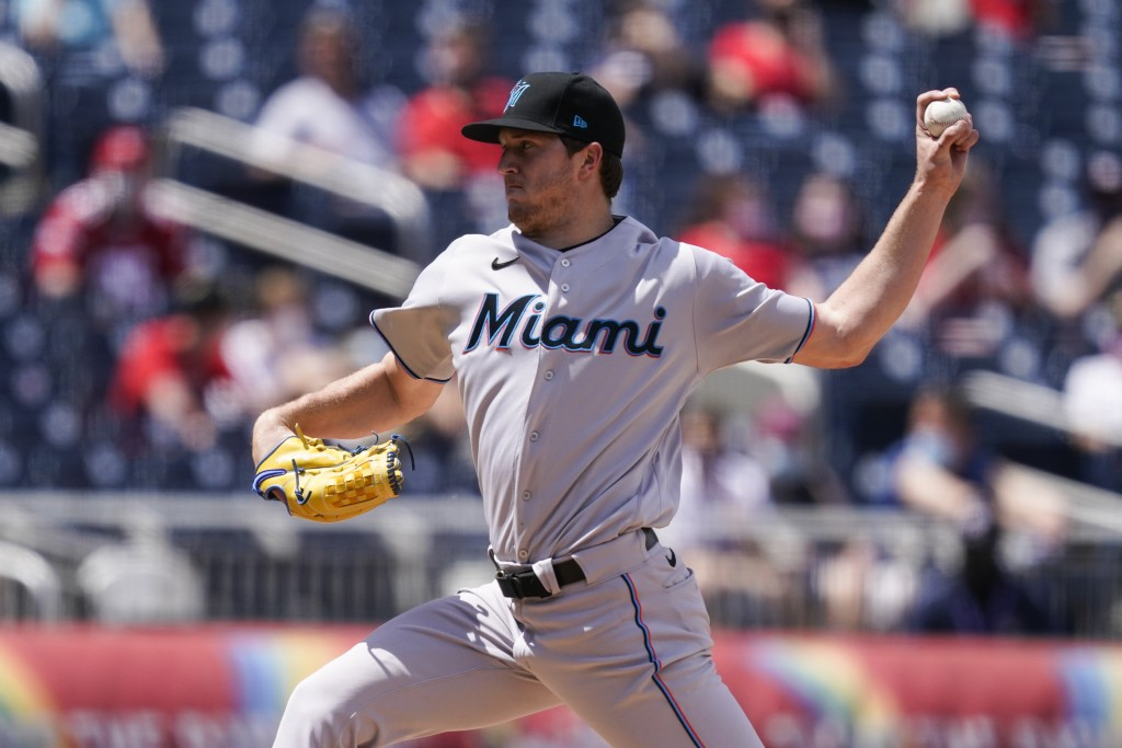 Miami Marlins starting pitcher Trevor Rogers throws during the fourth inning of a baseball game against the Washington Nationals at Nationals Park, Su...