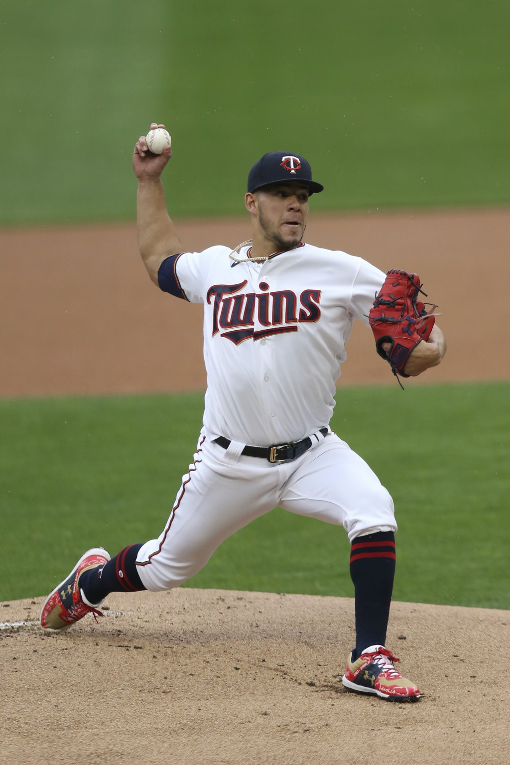 Minnesota Twins pitcher Jose Berrios throws against the Kansas City Royals during the first inning of a baseball game, Sunday, May 2, 2021, in Minneap...