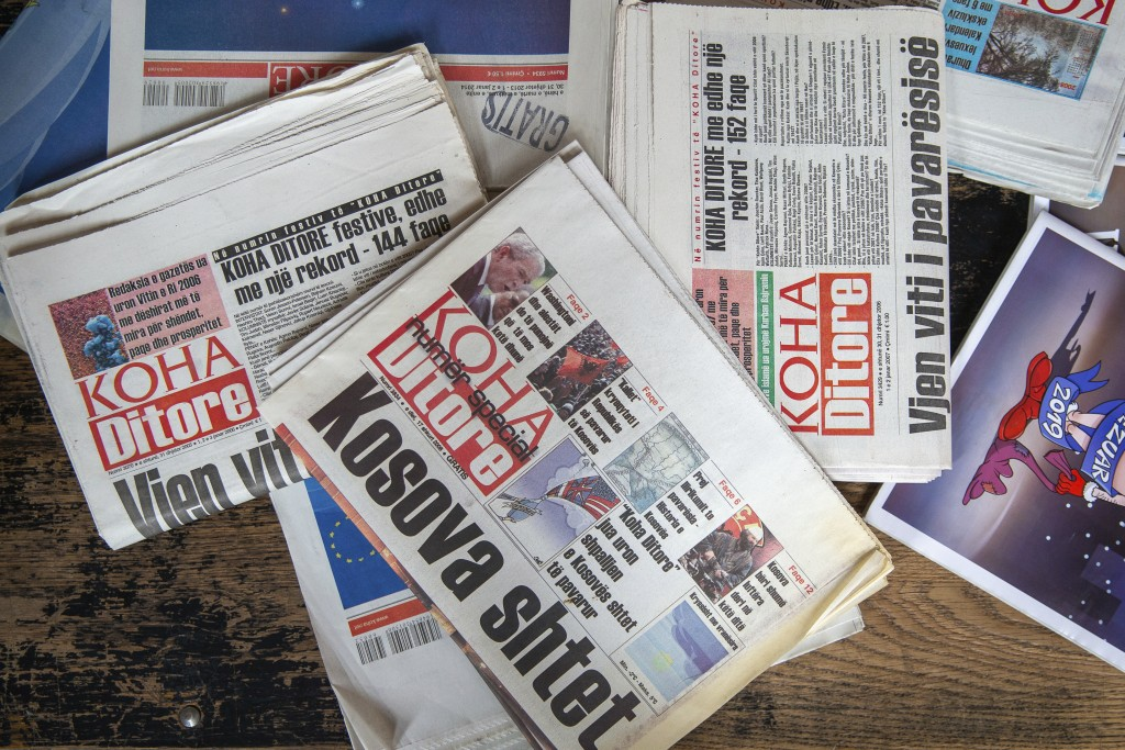 A view of archived copies of Koha Ditore newspaper are displayed, near the capital Pristina, Wednesday, April 28, 2021. The printing presses stopped r...
