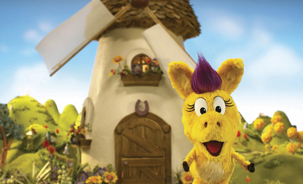 """This image released by PBS Kids shows the puppet Donkey Hodie from the new series, """"Donkey Hodie,"""" inspired from characters in the original Fred Roger..."""