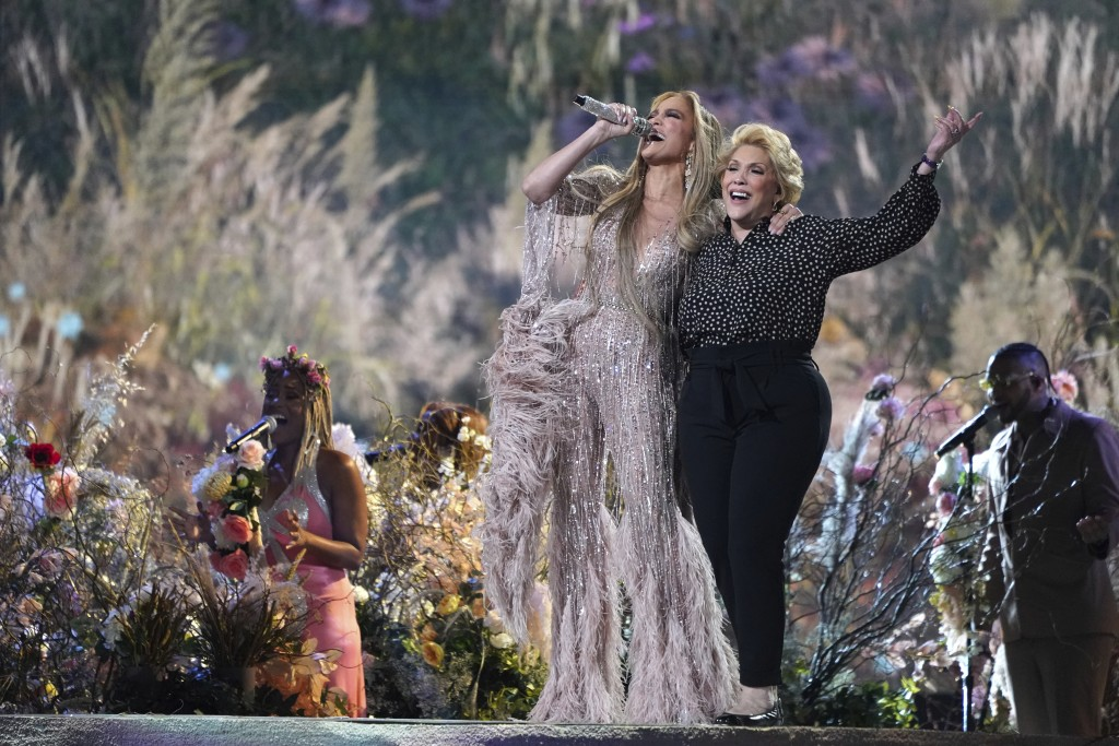 """Jennifer Lopez performs with her mother, Guadalupe Rodríguez, at """"Vax Live: The Concert to Reunite the World"""" on Sunday, May 2, 2021, at SoFi Stadium ..."""