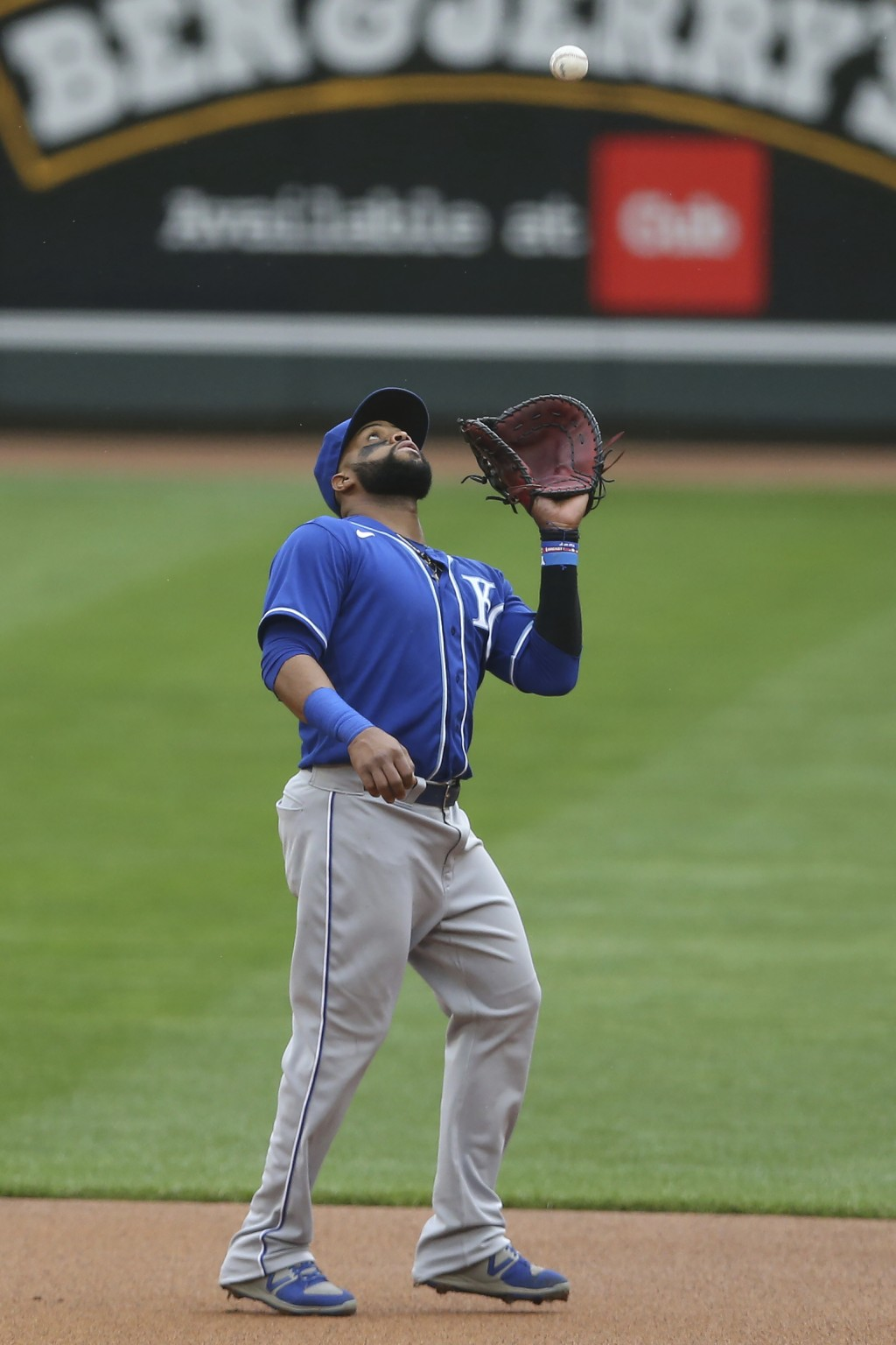 Kansas City Royals' Carlos Santana (41) catches a fly ball hit by Minnesota Timberwolves' Jarrett Culver (23) during the second inning of a baseball g...