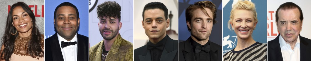 This combination photo of celebrities with birthdays from May 9-15 shows Rosario Dawson, from left, Kenan Thompson, Prince Royce, Rami Malek, Robert P...