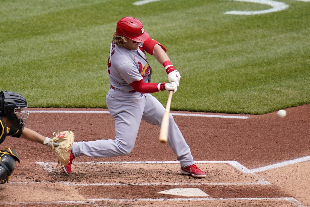 St. Louis Cardinals' Harrison Bader hits a three-run home run during the second inning of a baseball game in Pittsburgh, Sunday, May 2, 2021.(AP Photo...