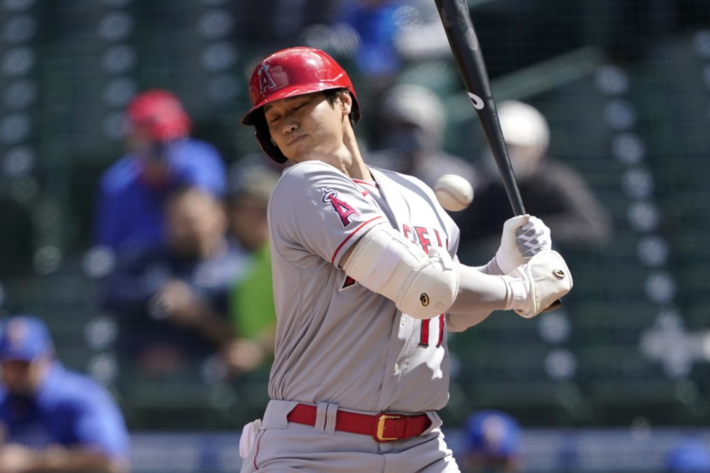 Los Angeles Angels Shohei Ohtani ducks a high and inside pitch during the fifth inning of a baseball game against the Seattle Mariners, Sunday, May 2,...