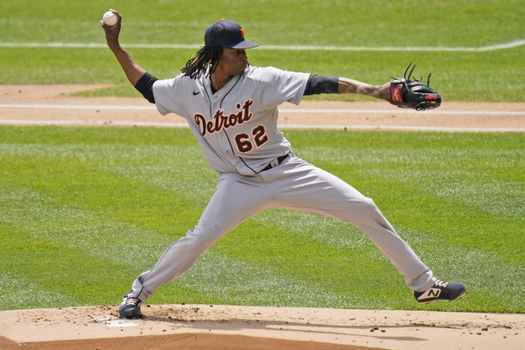 Detroit Tigers starting pitcher Jose Urena throws during the first inning of a baseball game against the New York Yankees at Yankee Stadium, Sunday, M...