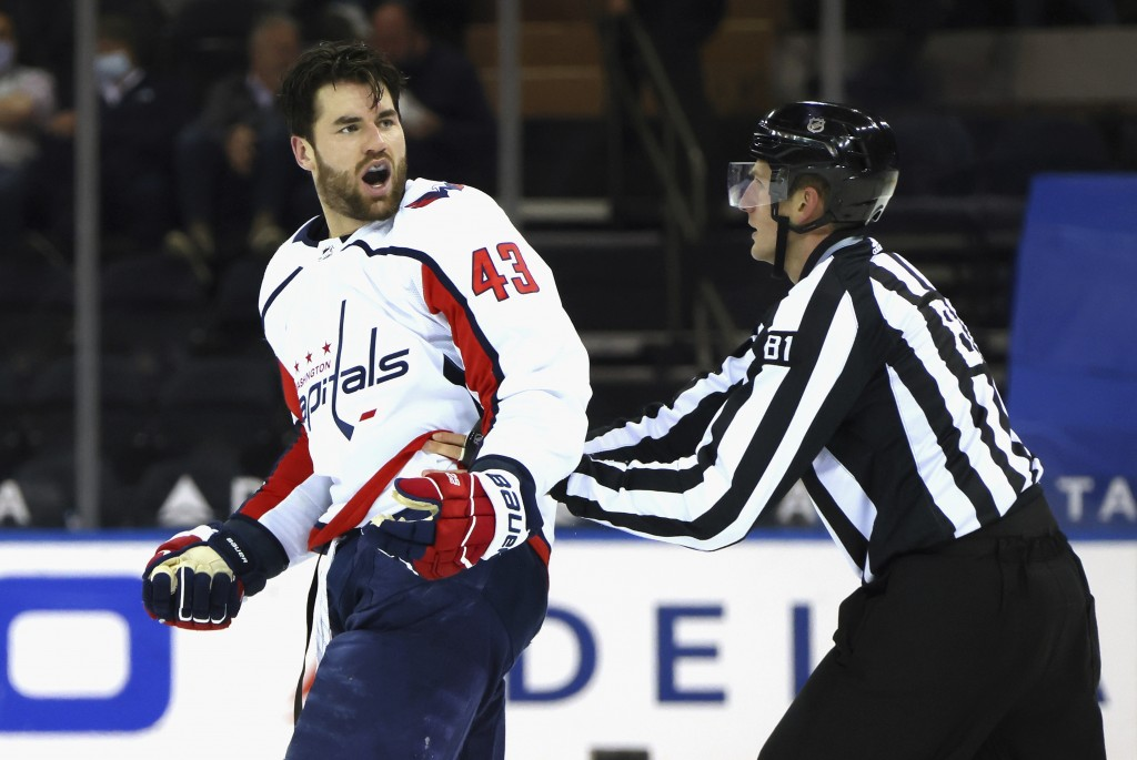 Washington Capitals' Tom Wilson (43) yells at the New York Rangers bench after taking a second-period penalty during an NHL hockey game Monday, May 3,...