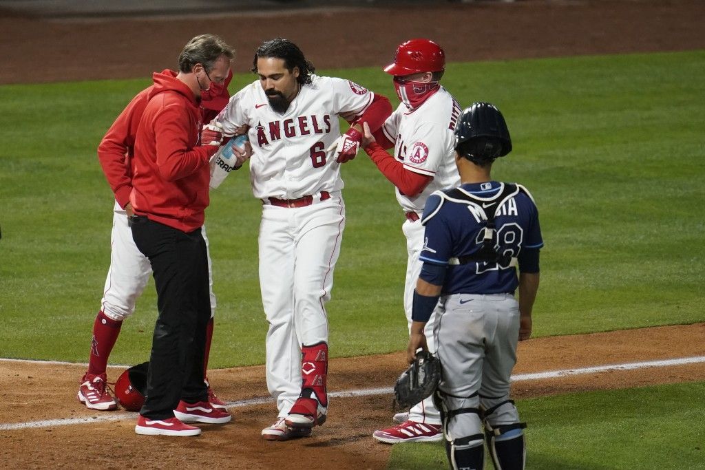 Los Angeles Angels' Anthony Rendon (6) is helped up after hitting a foul ball off his leg during the eighth inning of a baseball game against the Tamp...