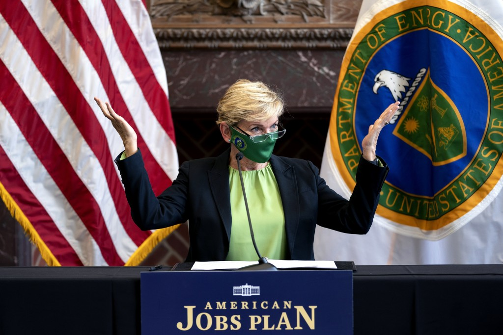 Energy Secretary Jennifer Granholm speaks during a roundtable discussion at Howard University in Washington, Monday, May 3, 2021. (Stefani Reynolds/Po...