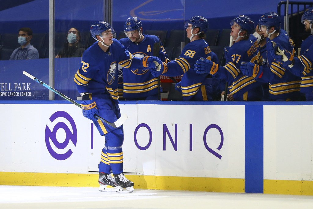 Buffalo Sabres forward Tage Thompson (72) celebrates his goal during the second period of an NHL hockey game against the New York Islanders, Monday, M...