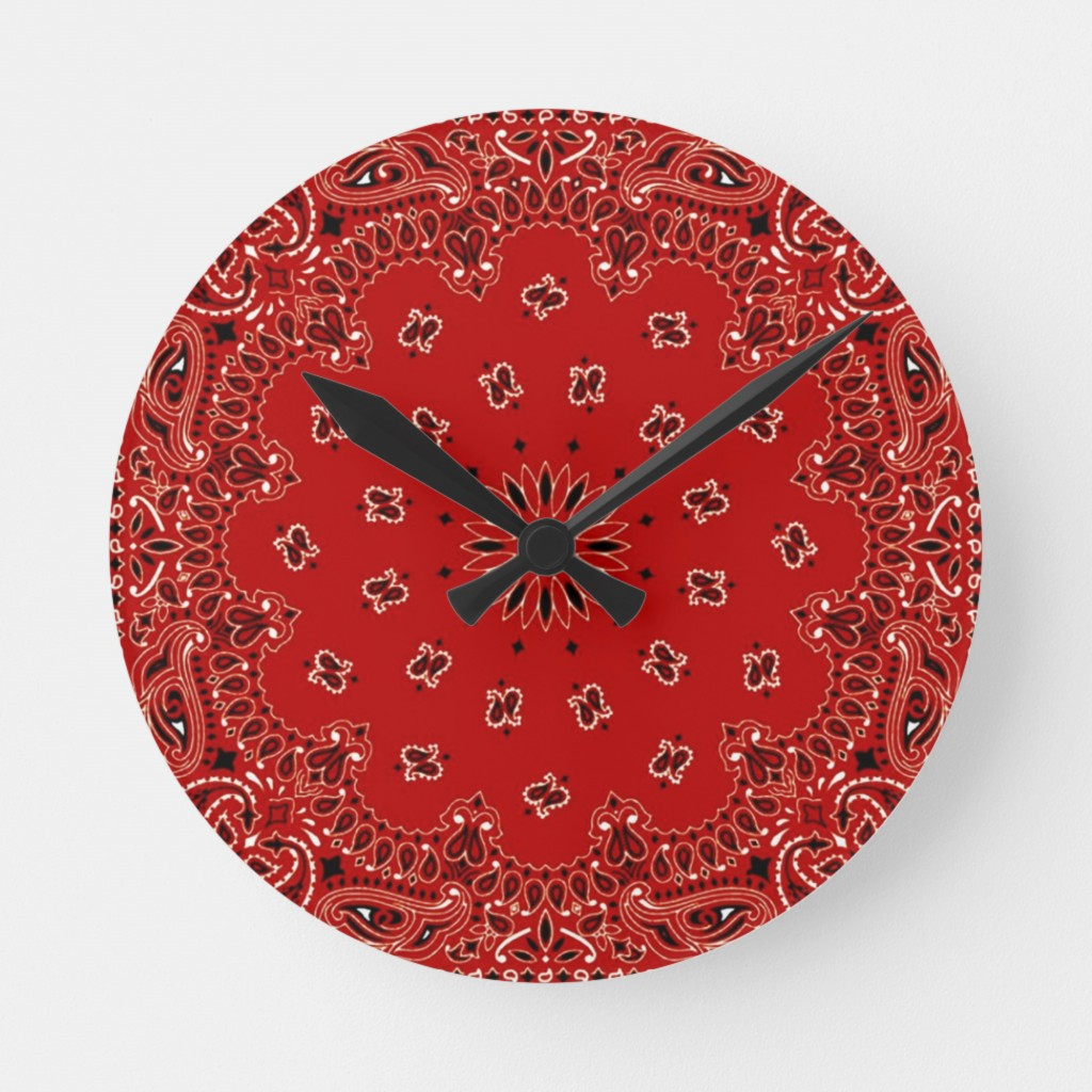 This image released by Zazzle shows a wall clock that features a bandana print. Zazzle has melamine plates, ceramic mugs, and ceiling and table lamps ...