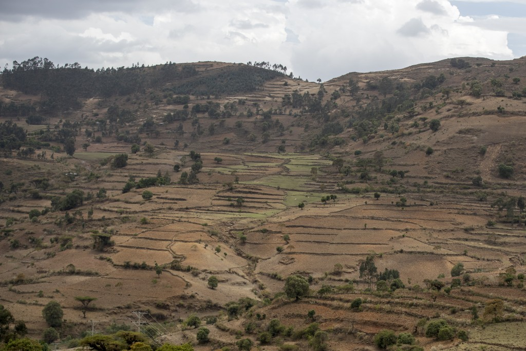 Terraced hills are seen off the road between Gondar and Danshe, a town in an area of western Tigray annexed by the Amhara region during the ongoing co...