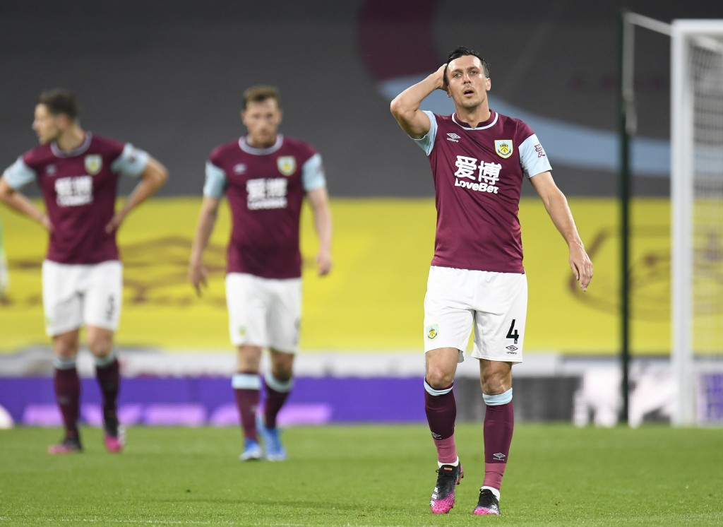 Burnley's Jack Cork reacts after West Ham's Michail Antonio, scored his sides 2nd gaolduring the English Premier League soccer match between Burnley a...