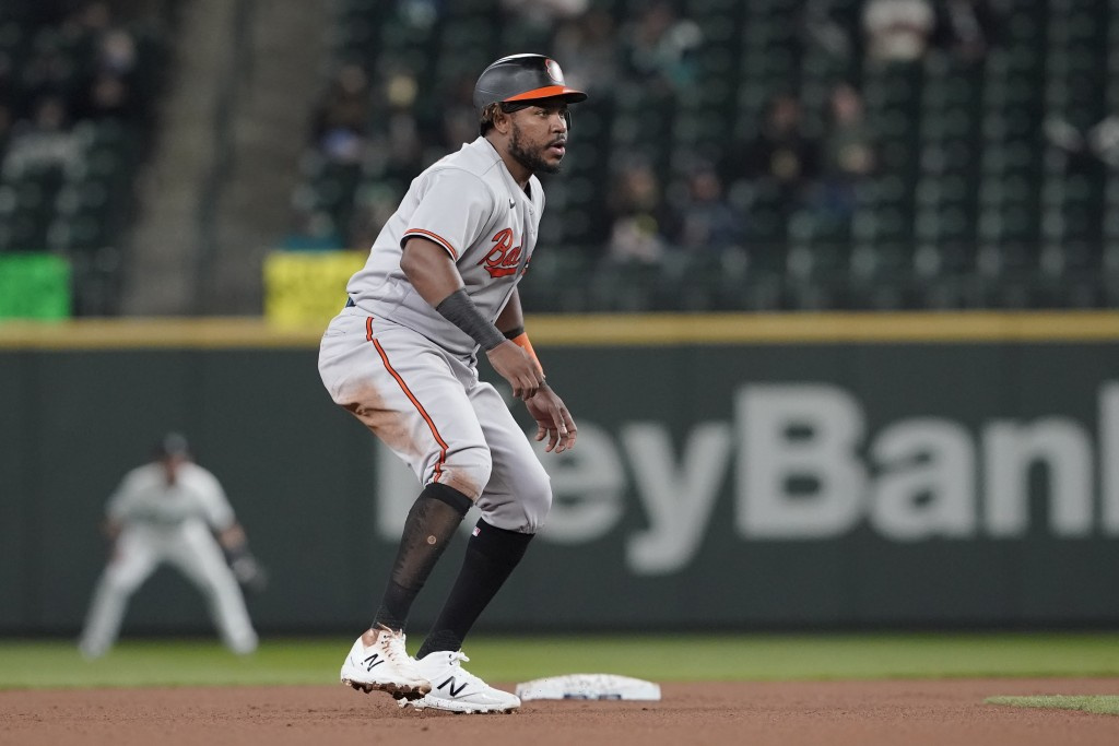 Baltimore Orioles' Maikel Franco leads off from second base after hitting a double during the fourth inning of a baseball game against the Seattle Mar...