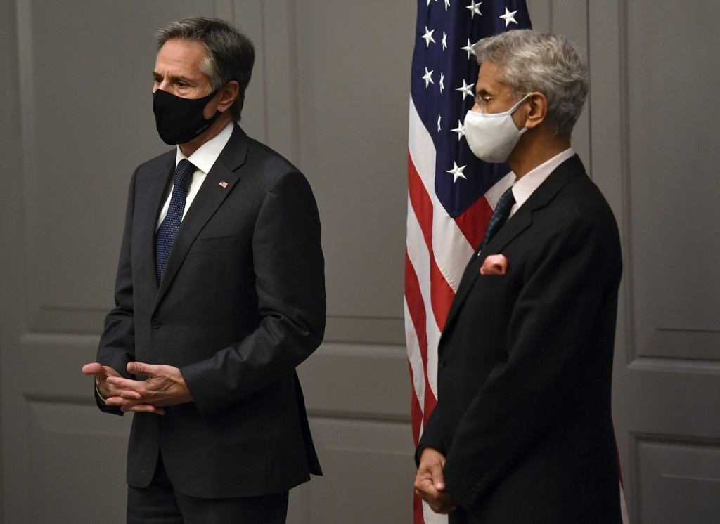 US Secretary of State Antony Blinken, left, attends a press conference with India's Foreign Minister Subrahmanyam Jaishankar following a bilateral mee...