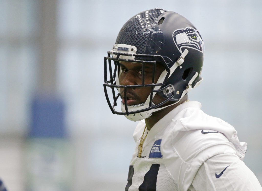 FILE - In this May 12, 2017, file photo, defensive tackle Malik McDowell, the Seattle Seahawks' top draft pick, watches a drill during NFL football ro...