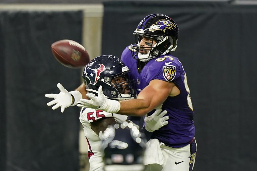 FILE - In this Sept. 20, 2020, file photo, Houston Texans inside linebacker Benardrick McKinney (55) breaks up a pass intended for Baltimore Ravens ti...
