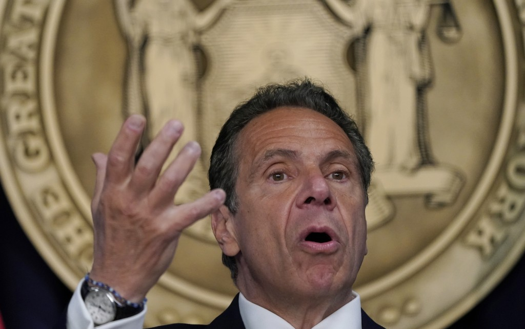 Gov. Andrew Cuomo holds a news conference in New York on Monday, May, 3, 2021, to announce that capacity restrictions for most types of businesses wil...