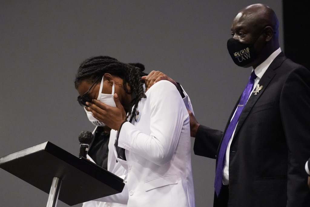 Andrew Brown Jr.'s son Khalil Ferebee, speaks during the funeral for his father Brown Jr., Monday, May 3, 2021, at Fountain of Life Church in Elizabet...
