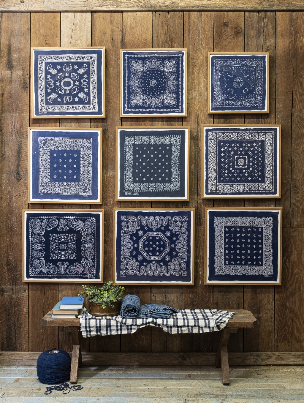 This image released by Portland Oregon-based interior designer Max Humphrey shows framed bandanas that serve as decorative wall art. (Christopher Dibb...