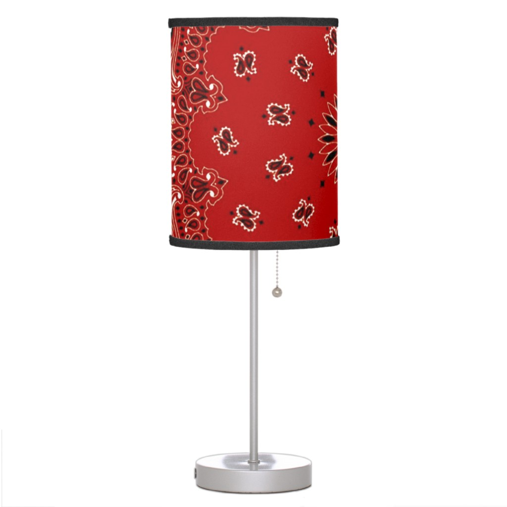 This image released by Zazzle shows a lamp with a shade that features a bandana paisley motif. The lamp also comes in blue, purple, turquoise, green o...