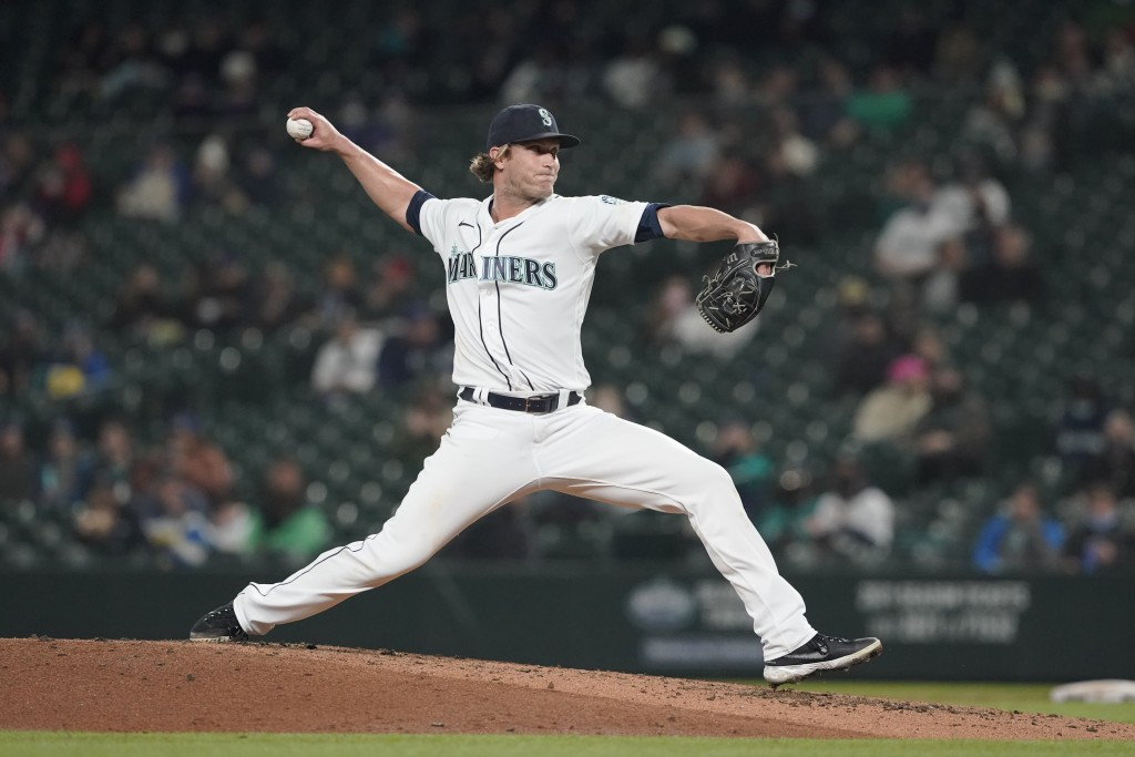 Seattle Mariners pitcher Drew Steckenrider throws against the Baltimore Orioles during the fifth inning of a baseball game, Monday, May 3, 2021, in Se...