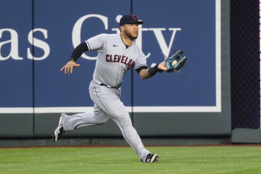 Cleveland Indians center fielder Harold Ramirez caught this fly off the bat of the Kansas City Royals' Jorge Soler, but it drove in a run to give the ...