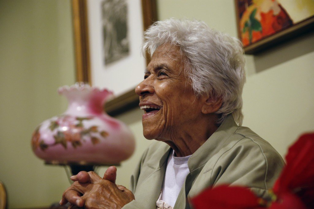 FILE - In this Wednesday, Dec. 30, 2015 file photo, Leah Chase speaks during an interview at her family's restaurant, Dooky Chase's, in New Orleans. T...