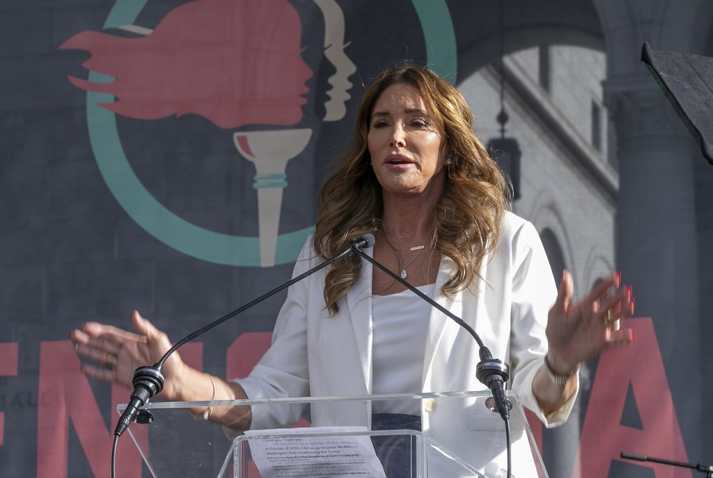 FILE - In this Jan. 18, 2020, file photo, Caitlyn Jenner speaks at the fourth Women's March in Los Angeles. Jenner, and John Cox, two Republicans runn...