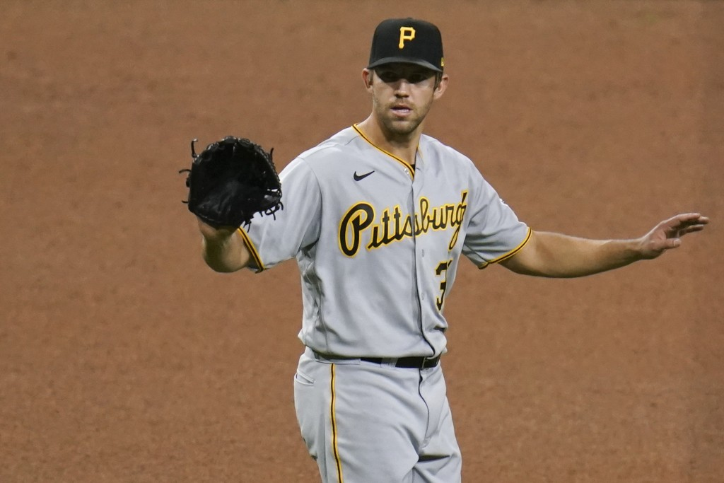 Pittsburgh Pirates starting pitcher Tyler Anderson motions during the seventh inning of a baseball game against the San Diego Padres, Monday, May 3, 2...