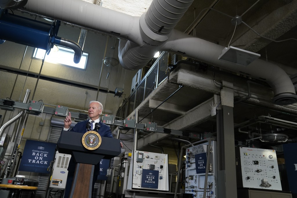 President Joe Biden speaks at Tidewater Community College, Monday, May 3, 2021, in Portsmouth, Va. Biden and the first lady are in coastal Virginia to...