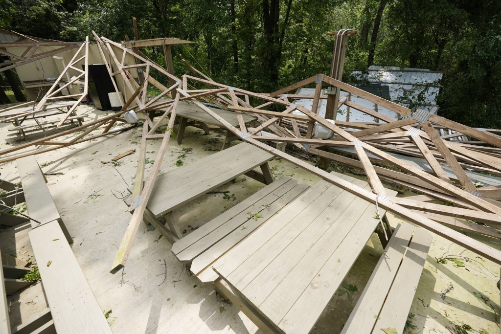 Rubble remains of the Ridge, a pavilion used by members of Parkview Church of God, after a direct hit by a tornado, Monday, May 3, 2021, in Yazoo Coun...