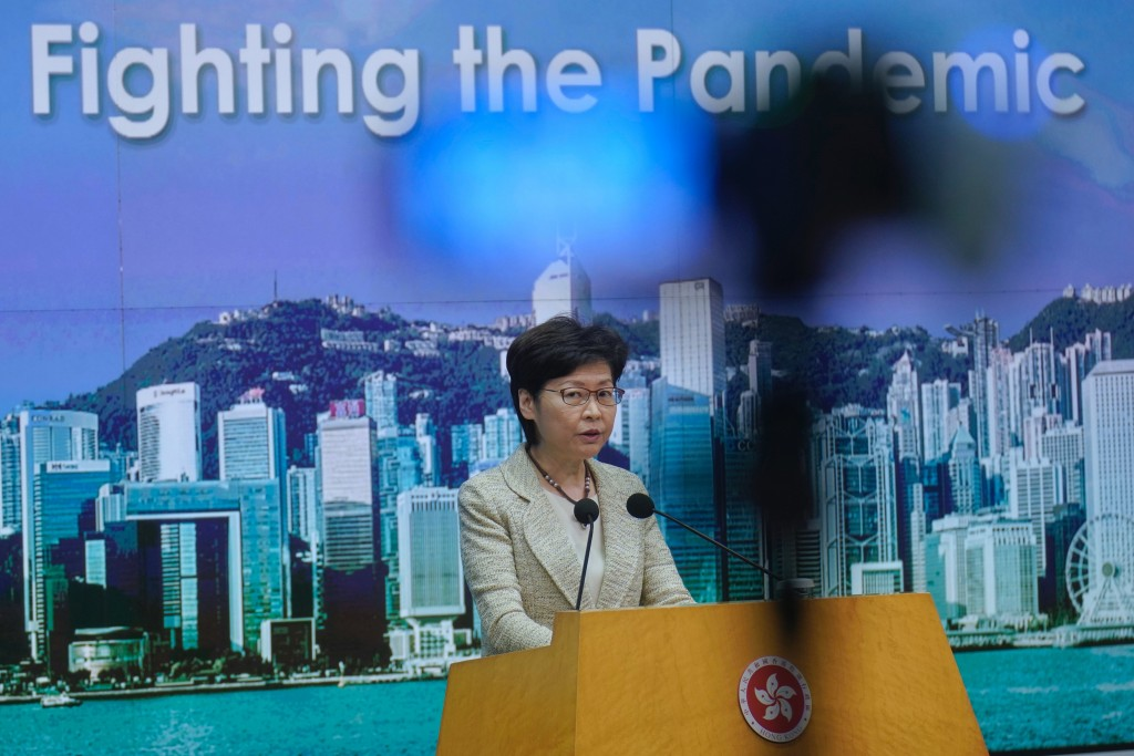 Hong Kong Chief Executive Carrie Lam listens to reporters' questions during a press conference in Hong Kong, Tuesday, May 4, 2021. Lam said on Tuesday...