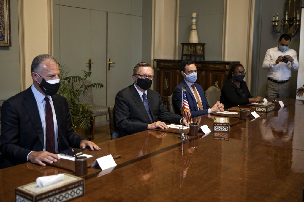 U.S. Special Envoy for the Horn of Africa Jeffrey Feltman, center, and his delegation meet with Egyptian Foreign Minister Sameh Shoukry at the foreign...
